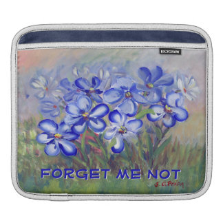 Blue Wildflowers in a Field Fine Art Painting iPad Sleeves