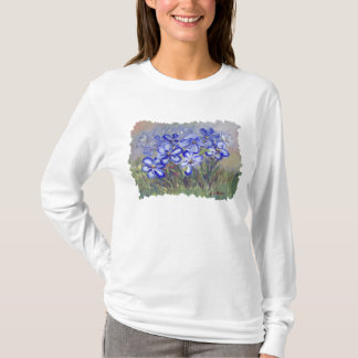 Blue Wildflowers in a Field Fine Art Painting T-Shirt