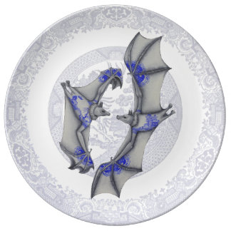 Blue Willow Bats Porcelain Plate