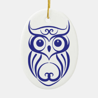 Blue Willow China Style Owl Ornament