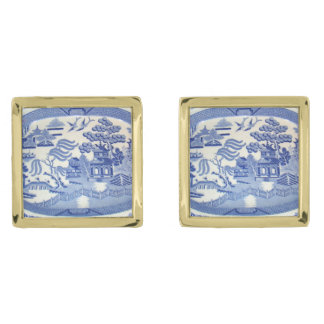 Blue Willow Cuff-links in Square Gold Plated Frame Gold Finish Cuff Links