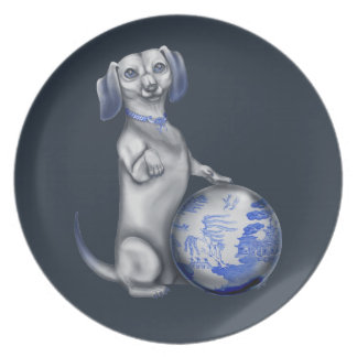 Blue Willow Dachshund Plate