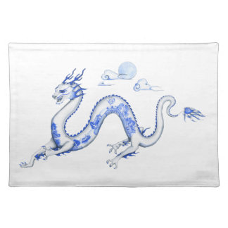Blue Willow Dragon with White BG Placemats