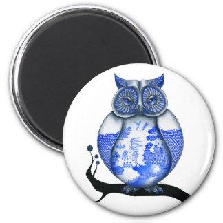 Blue Willow Owl 6 Cm Round Magnet