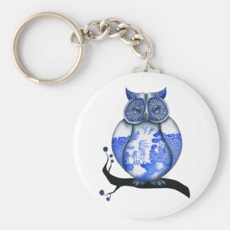 Blue Willow Owl Basic Round Button Key Ring