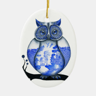 Blue Willow Owl Christmas Ornament