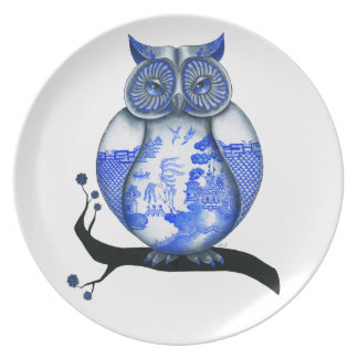 Blue Willow Owl Plate