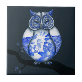 Blue Willow Owl Tile