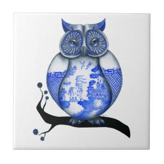 Blue Willow Owl Tile