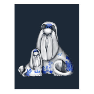 Blue Willow Shih Tzus Postcard