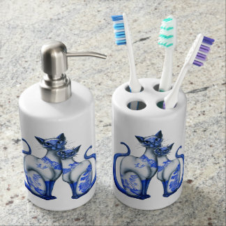 Blue Willow Siamese Cats Bath Set