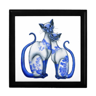 Blue Willow Siamese Cats Large Square Gift Box