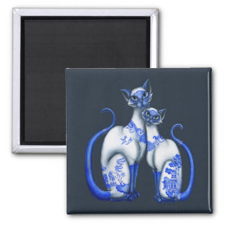 Blue Willow Siamese Cats Magnet