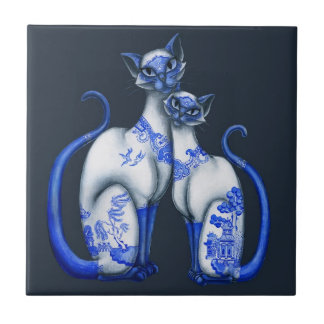 Blue Willow Siamese Cats Small Square Tile