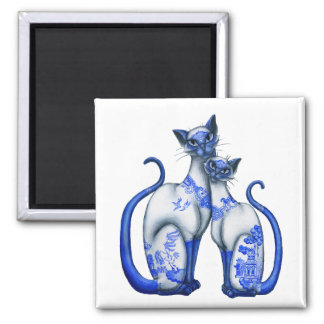 Blue Willow Siamese Cats Square Magnet