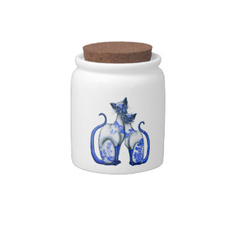 Blue Willow Siamese Cats Candy Jar