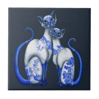 Blue Willow Siamese Cats Ceramic Tile