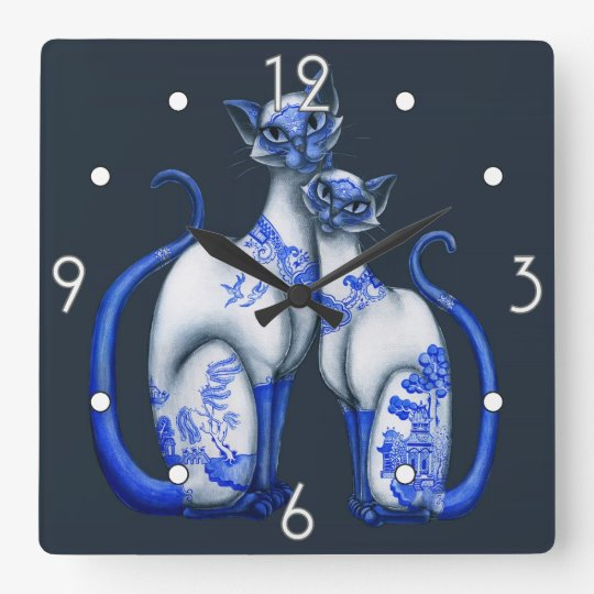 Blue Willow Siamese Cats Wall Clock