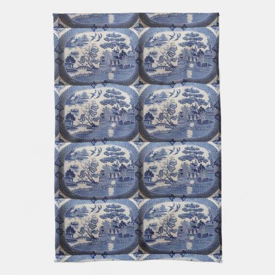 Blue Willow Tea Towel - let grandma in