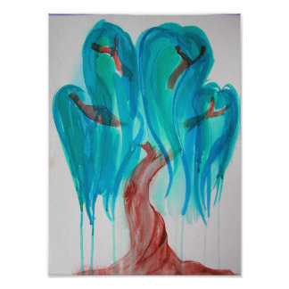Blue Willow Tree Print