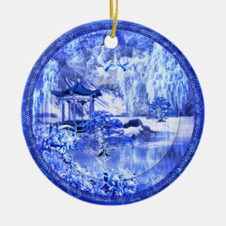 """Blue Willow World"" Ceramic Ornament, Original Art Christmas Ornament"