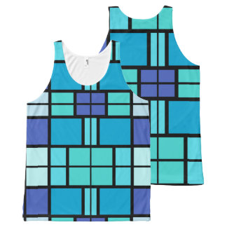 Blue window design All-Over print tank top