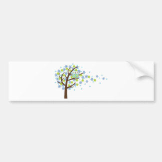 Blue Windy Tree Owl Bumper Sticker