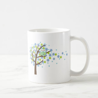 Blue Windy Tree Owl Coffee Mug