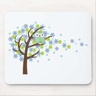 Blue Windy Tree Owl Mouse Mat