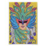 Blue Wing Mardi Gras Mask Poster
