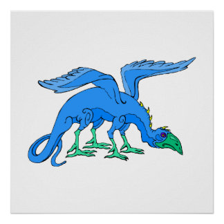 Blue Winged Bird Dragon Posters