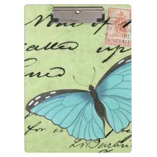 Blue-Winged Butterfly on Teal Postcard Clipboard