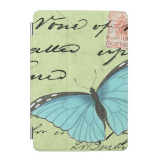 Blue-Winged Butterfly on Teal Postcard iPad Mini Cover