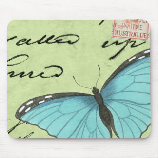 Blue-Winged Butterfly on Teal Postcard Mouse Pad