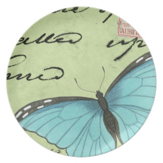 Blue-Winged Butterfly on Teal Postcard Plate