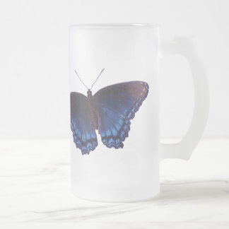 Blue winged Butterfly with wings open Frosted Glass Beer Mug
