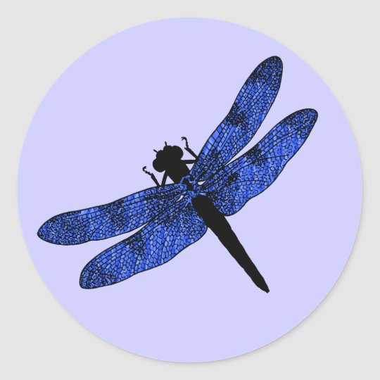 Blue Winged Dragonfly Classic Round Sticker