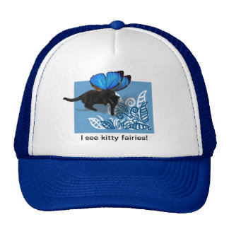 Blue winged kitty fairy hunt in leaves cap
