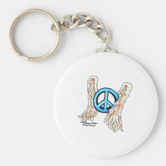 Blue Winged Peace Sign Basic Round Button Key Ring