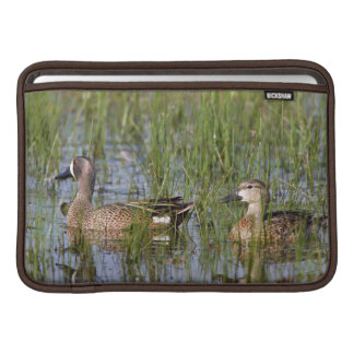 Blue-winged Teal male and female in wetland Sleeve For MacBook Air