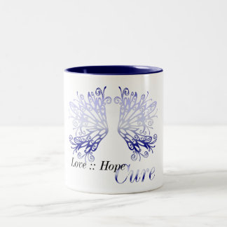 Blue Wings : Love Hope Cure Rheumatoid Arthritis Two-Tone Coffee Mug