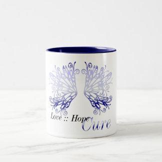 Blue Wings : Love Hope Cure Rheumatoid Arthritis Two-Tone Mug