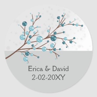 Blue Winter Berries,  Winter Wedding Stationery Classic Round Sticker