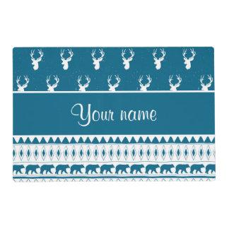 Blue Winter Deer Tribal Aztec Pattern Laminated Place Mat