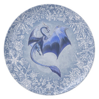 Blue Winter Dragon Fantasy Nature Art Dinner Plates