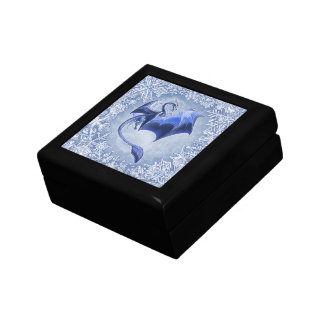 Blue Winter Dragon Fantasy Nature Art Gift Box