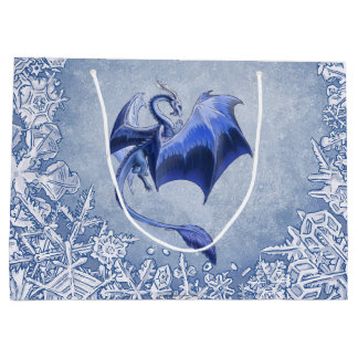 Blue Winter Dragon Fantasy Nature Art Large Gift Bag