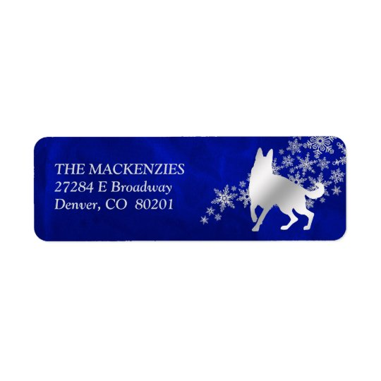 Blue Winter German Shepherd Dog Return Address