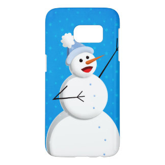 Blue Winter Happy Snowman