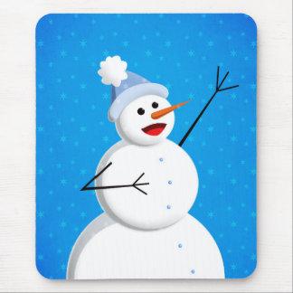 Blue Winter Happy Snowman Mouse Pad